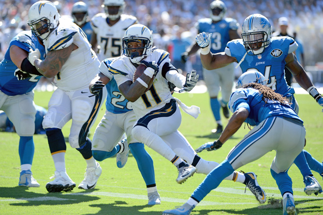 Johnson: Six catches, 82 yards and a TD in in Chargers debut. (Donald Miralle/Getty Images)