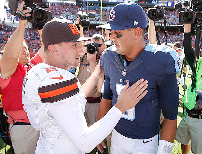 Manziel got the win on Sunday, but he doesn't measure up to Mariota in terms of long-term ceiling. (Gregory Shamus/Getty Images)