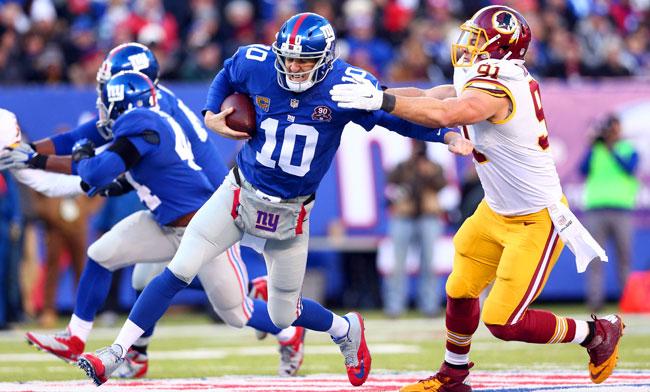 Washington defensive end Ryan Kerrigan sacks New York Giants quarterback Eli Manning. (Brad Penner/USA Today Sports)