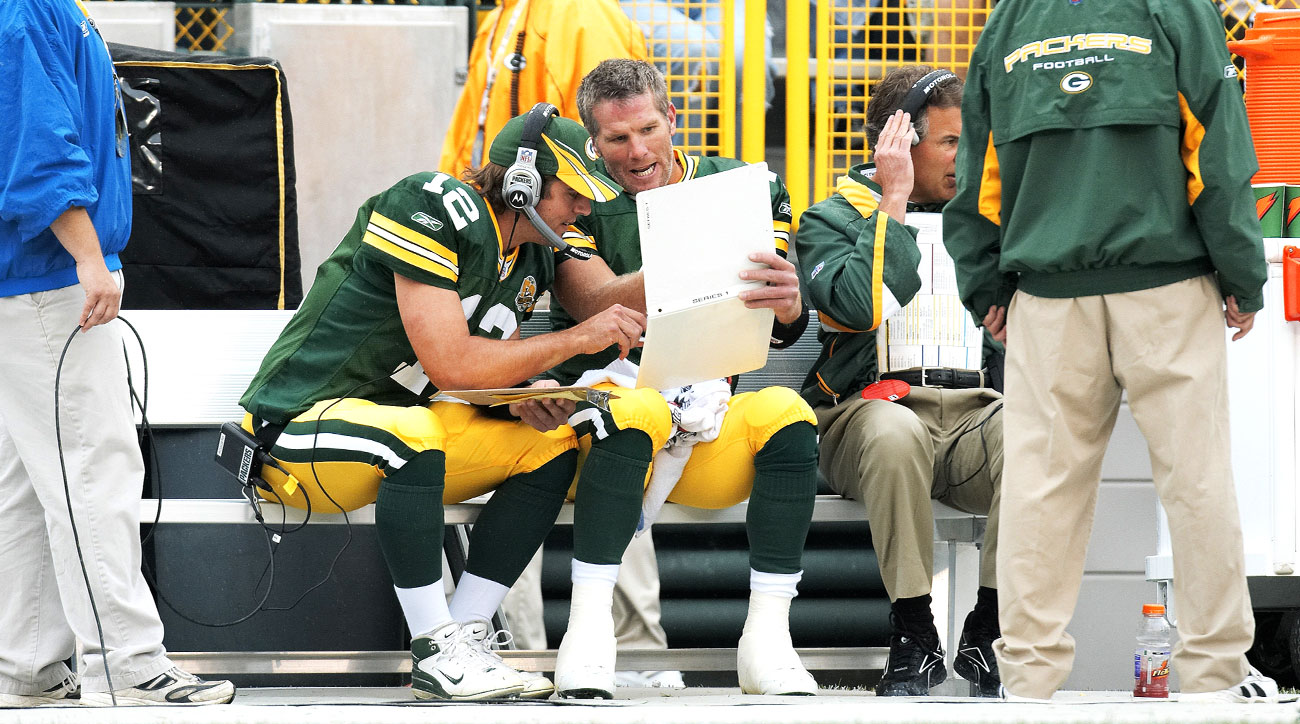Aaron Rodgers and Brett Favre in 2007. (Photo: John Biever for Sports Illustrated)