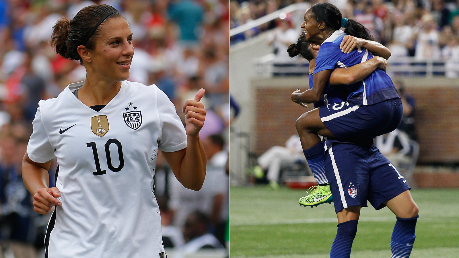 Carli Lloyd scored hat tricks in both games and NWSL Golden Boot winner Crystal Dunn scored her first international goals as the USWNT beat Haiti 5-0 and 8-0 in a pair of friendlies in Detroit and Birmingham, Alabama. Haiti replaced on-strike Australia as a last-minute opponent.
