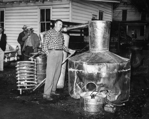 A moonshine still, shot in black and white to make it look old time-y.