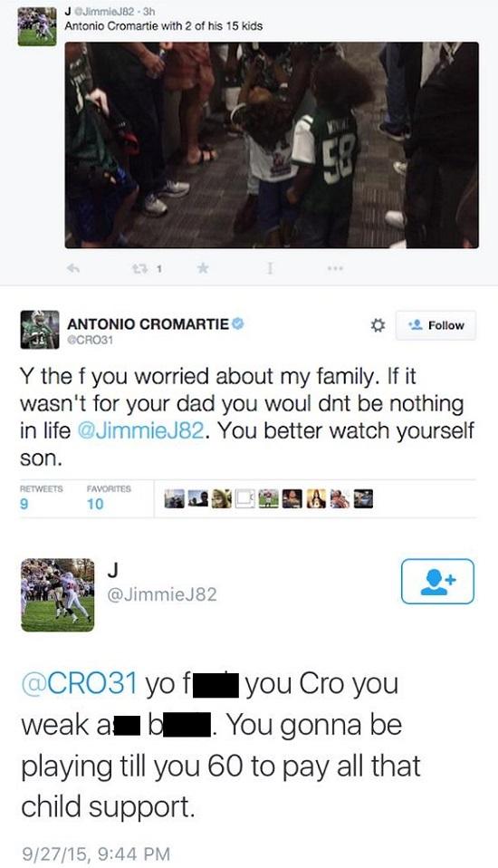 jimmie johnson antonio cromartie new york jets tweets