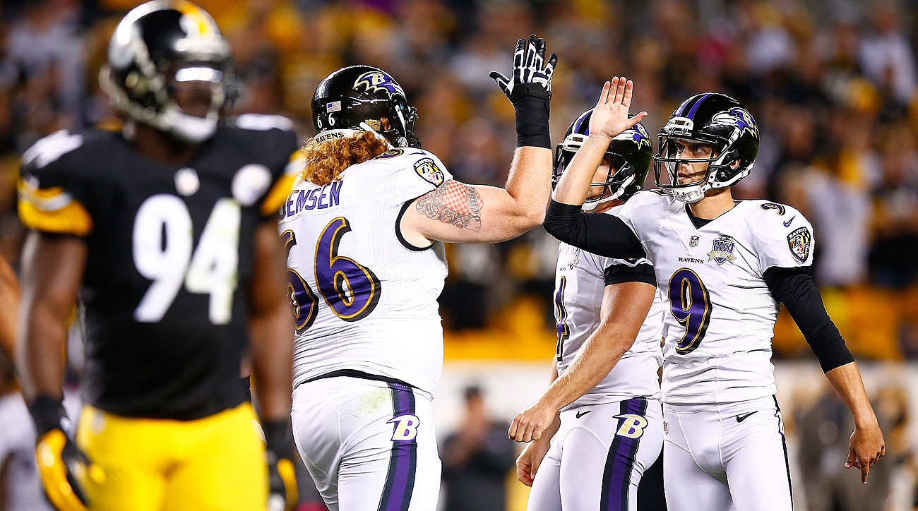Justin Tucker hit the game-tying field goal at the end of regulation and the game-winner in overtime. (Jared Wickerham/Getty Images)