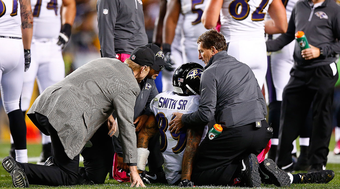 Steve Smith's injury shines a spotlight on how depleted the Ravens' wideout group is. (Jared Wickerham/Getty Images)