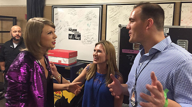 NFL analyst Ross Tucker and his wife Kara with Taylor Swift. (Photo courtesy of Tuckers)