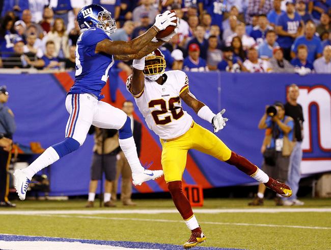 Odell Beckham catches a touchdown against Washington