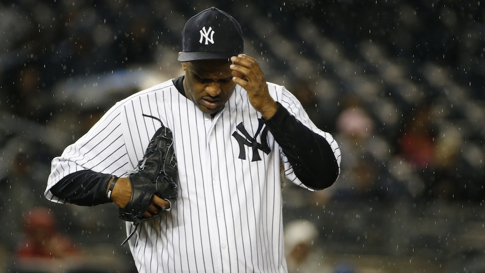 CC Sabathia weathers the rain in a recent game at Yankee Stadium.