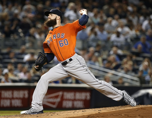 Dallas Keuchel of the Houston Astros pitches against the New York Yankees at Yankee Stadium.