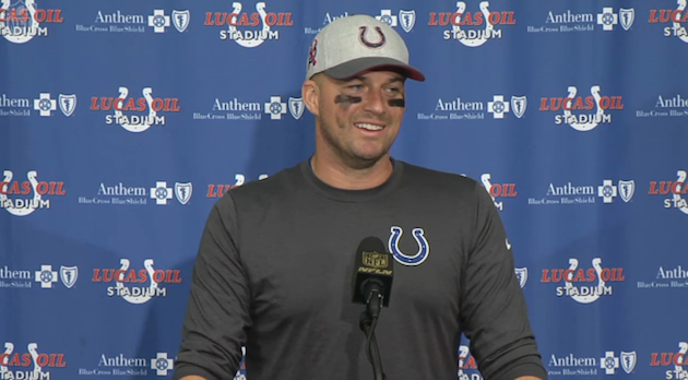 Matt Hasselbeck of the Indianapolis Colts appears on the NFL's Week 4 fashion red carpet.