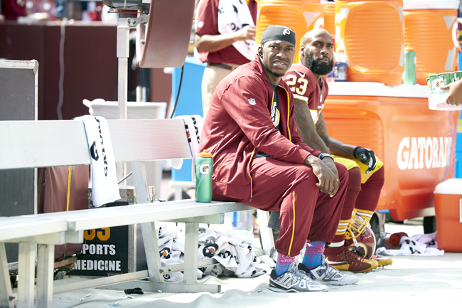RG3 on the bench in 2015.