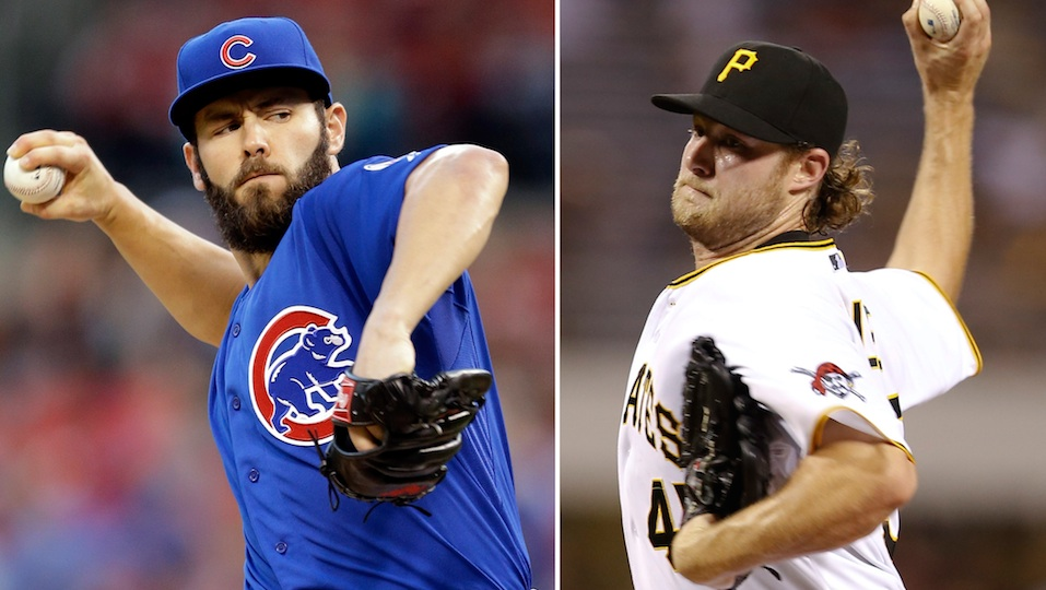 Jake Arrieta of the Chicago Cubs (l) and Gerrit Cole of the Pittsburgh Pirates (r) square off in Wednesday's one-game wild card playoff.