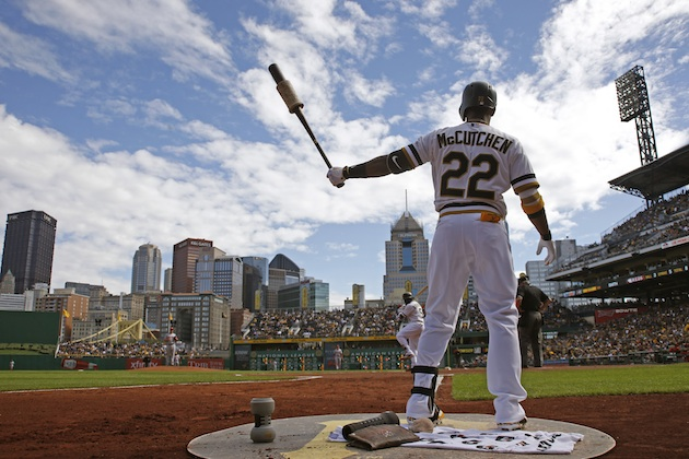 Andrew McCutchen of the Pittsburgh Pirates warms up in the batter's box at PNC Park.