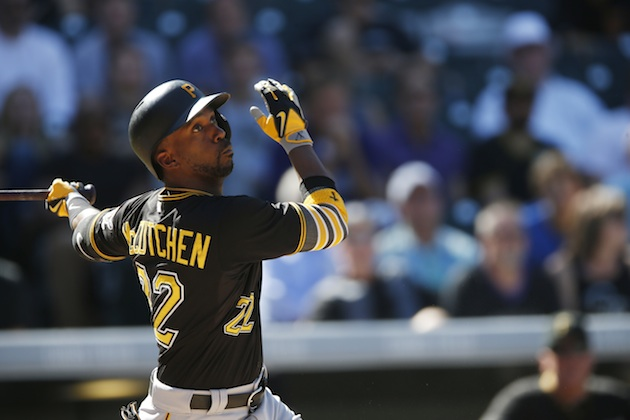 Andrew McCutchen of the Pittsburgh Pirates takes a swing in a late-season game against the Colorado Rockies.