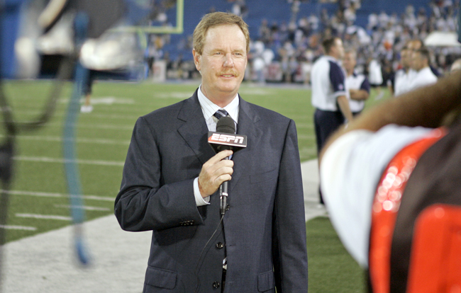 Ed Werder, doing a standup at Buffalo's Ralph Wilson Stadium for ESPN in 2007. (James D. Smith/Icon SMI)