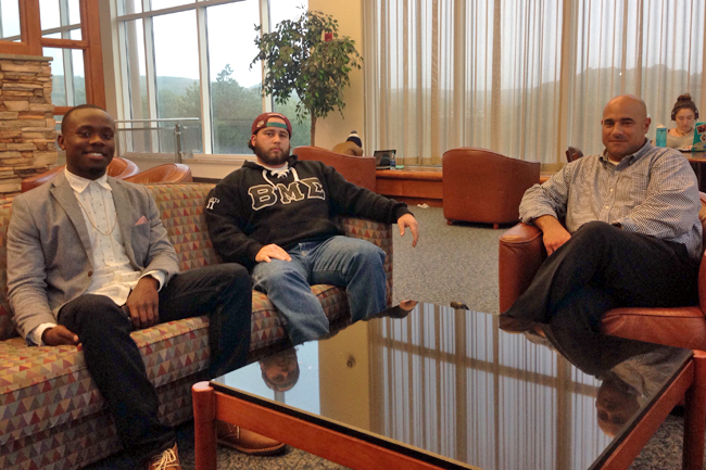 From left to right: SCSU students Sheldon Henry and David DeLise, and director of student conduct Chris Piscitelli.