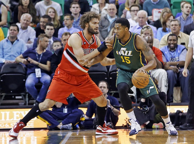 The growth of Derrick Favors (r) will be key to the Utah Jazz's success.