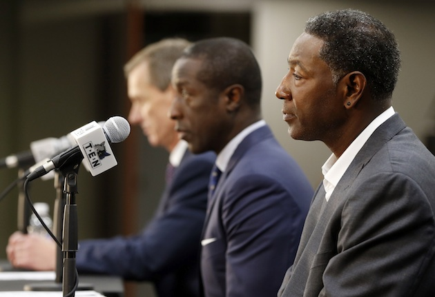 In Flip Saunders' absence, Sam Mitchell (r) will be tasked with guiding the young Timberwolves.