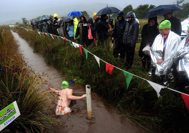 A crowd watches as a participant races in the World Bog Snorkelling Championships at the Waen Rhydd, Llanwrtyd, Wales.