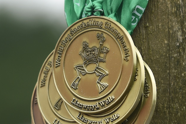 Medals for the World Bog Snorkelling Championships at the Waen Rhydd, Llanwrtyd, Wales.