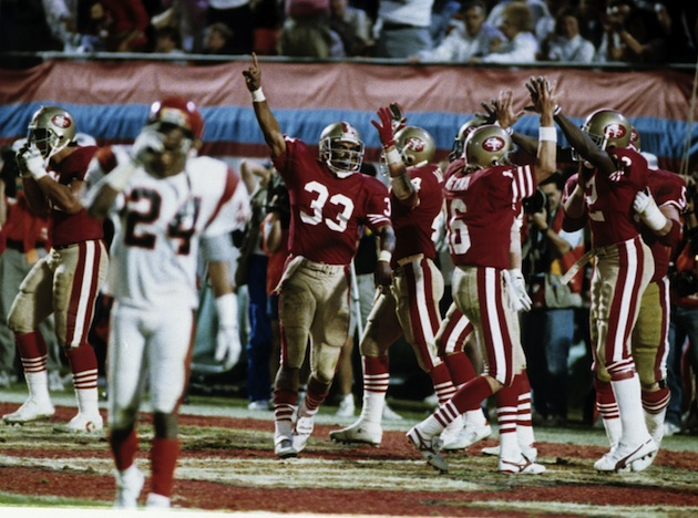 The San Francisco 49ers celebrate imminent victory over the Cincinnati Bengals in Super Bowl XXIII.