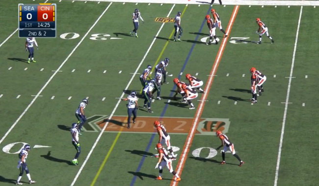 Cincinnati Bengals unusual offensive formation against the Seahawks in Week 5.