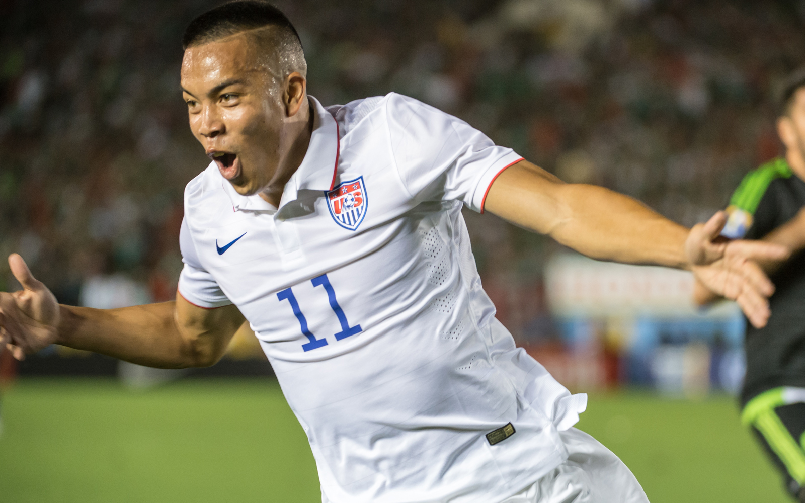 U.S. forward Bobby Wood celebrates his 108th-minute goal vs. Mexico that brought the Americans level at 2-2 after Oribe Peralta had given El Tri the lead in extra time. That reprieve would only last for 10 minutes, though.
