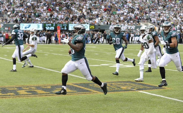Darren Sproles of the Philadelphia Eagles returns a punt for a touchdown during a game against the New York Jets.