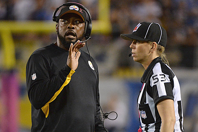Sarah Thomas, NFL's first female official, and Mike Tomlin