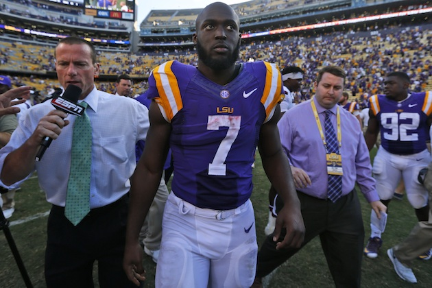 LSU running back and Heisman candidate Leonard Fournette talks to media following a game in 2015.