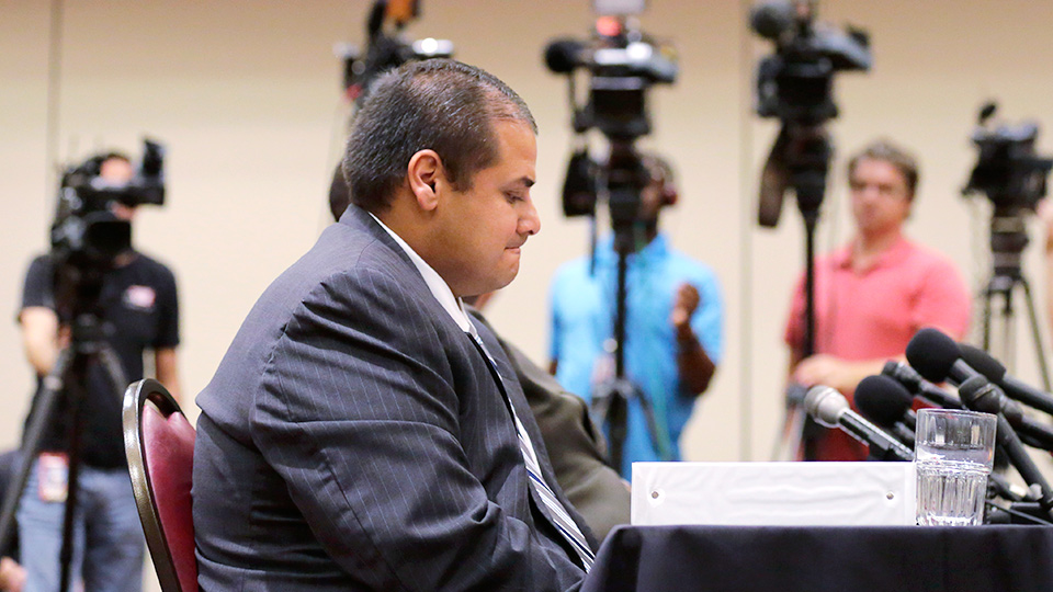 John Jay High School head coach Gary Gutierrez, pictured during a Sept. 24 hearing, received two years probation and a public reprimand on Thursday.