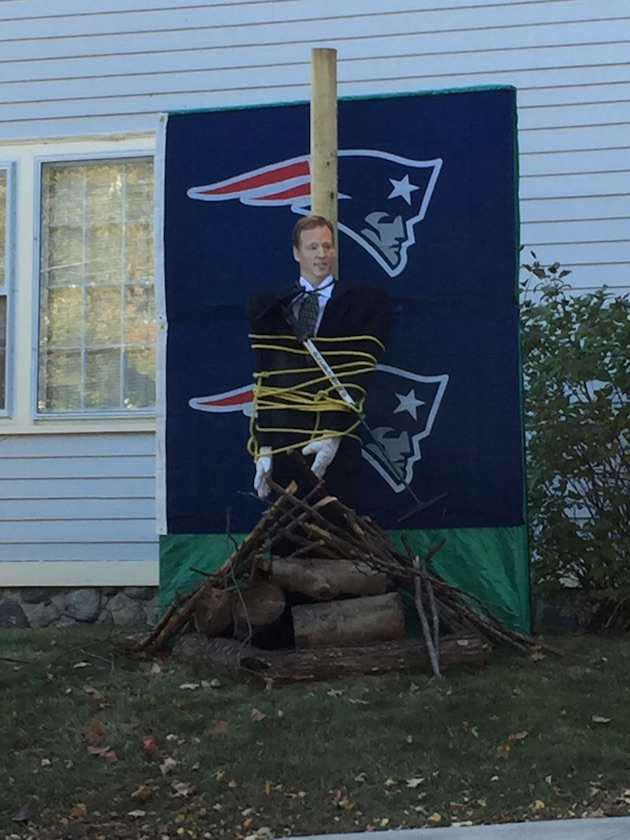 patriots fan roger goodell burned stake witch photo