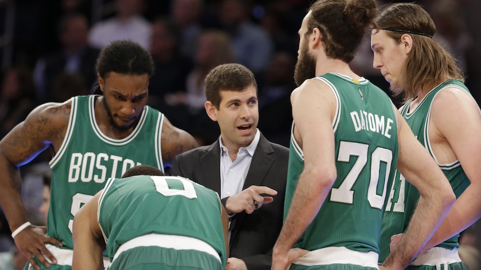 Brad Stevens (center) has made an art of turning average players into a formidabble team.