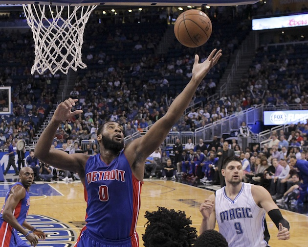 Andre Drummond of the Detroit Pistons battles for a rebound.
