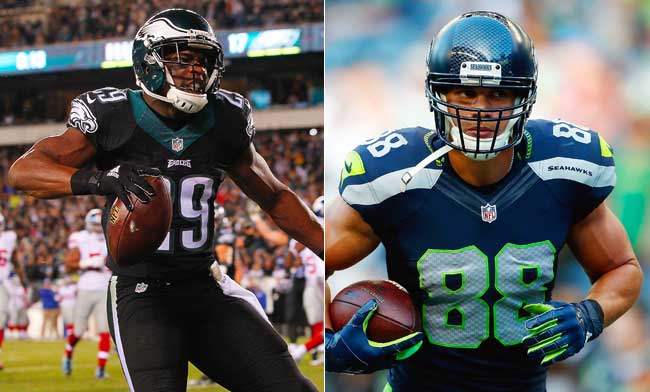 Philadelphia Eagles running back DeMarco Murray and Seattle Seahawks tight end Jimmy Graham.