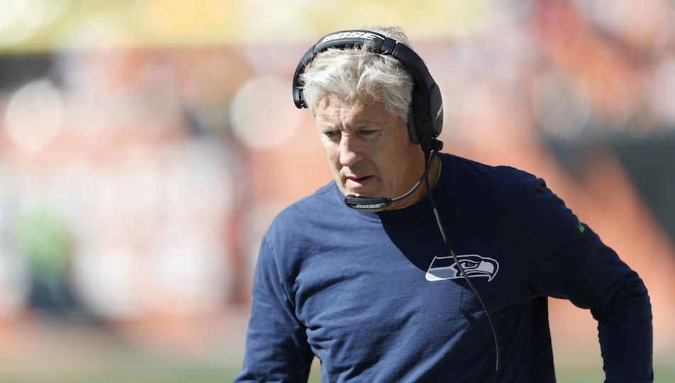 Seattle Seahawks head coach Pete Carroll patrols the sidelines.