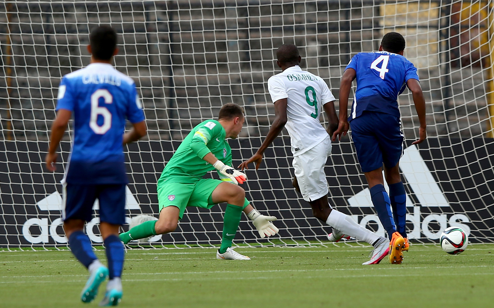 Victor Osimhen scores for Nigeria in a 2-0 win over the USA in the teams' FIFA Under-17 World Cup opener in Chile.