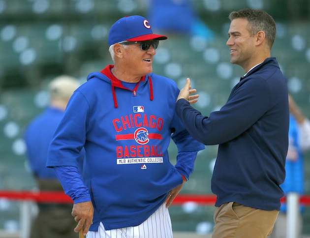 Manager Joe Maddon (l) and general manager Theo Epstein (r) have been key to the Chicago Cubs resurgence.