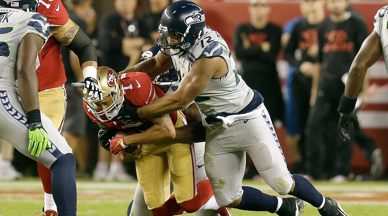 Colin Kaepernick was sacked six times by the Seahawks defense Thursday night.