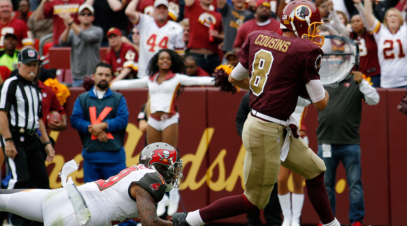 Kirk Cousins accounted for four touchdowns (three passing; one running) in Washington's comeback win.
