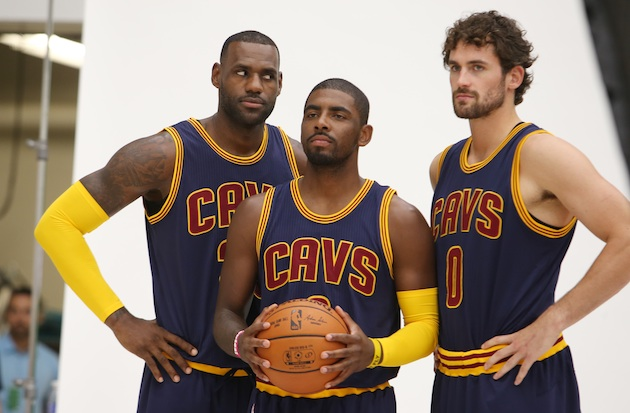 From left: LeBron James, Kyrie Irving, and Kevin Love of the Cleveland Cavaliers.