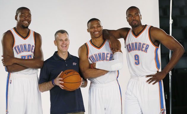 Oklahoma City Thunder teammates Billy Donovan Kevin Durant
