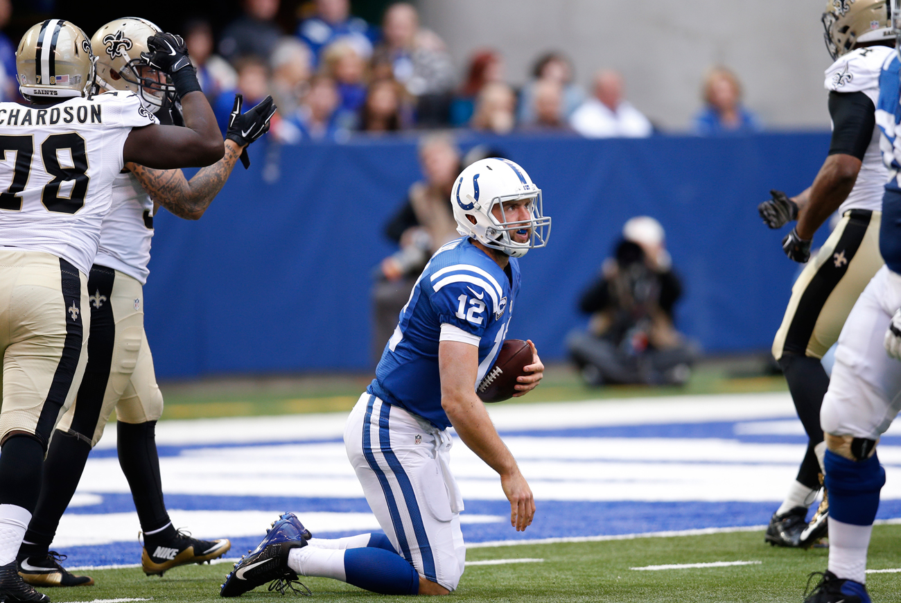 Andrew Luck of the Colts gets up after being sacked by the Saints in Week 7 of the 2015 NFL season.