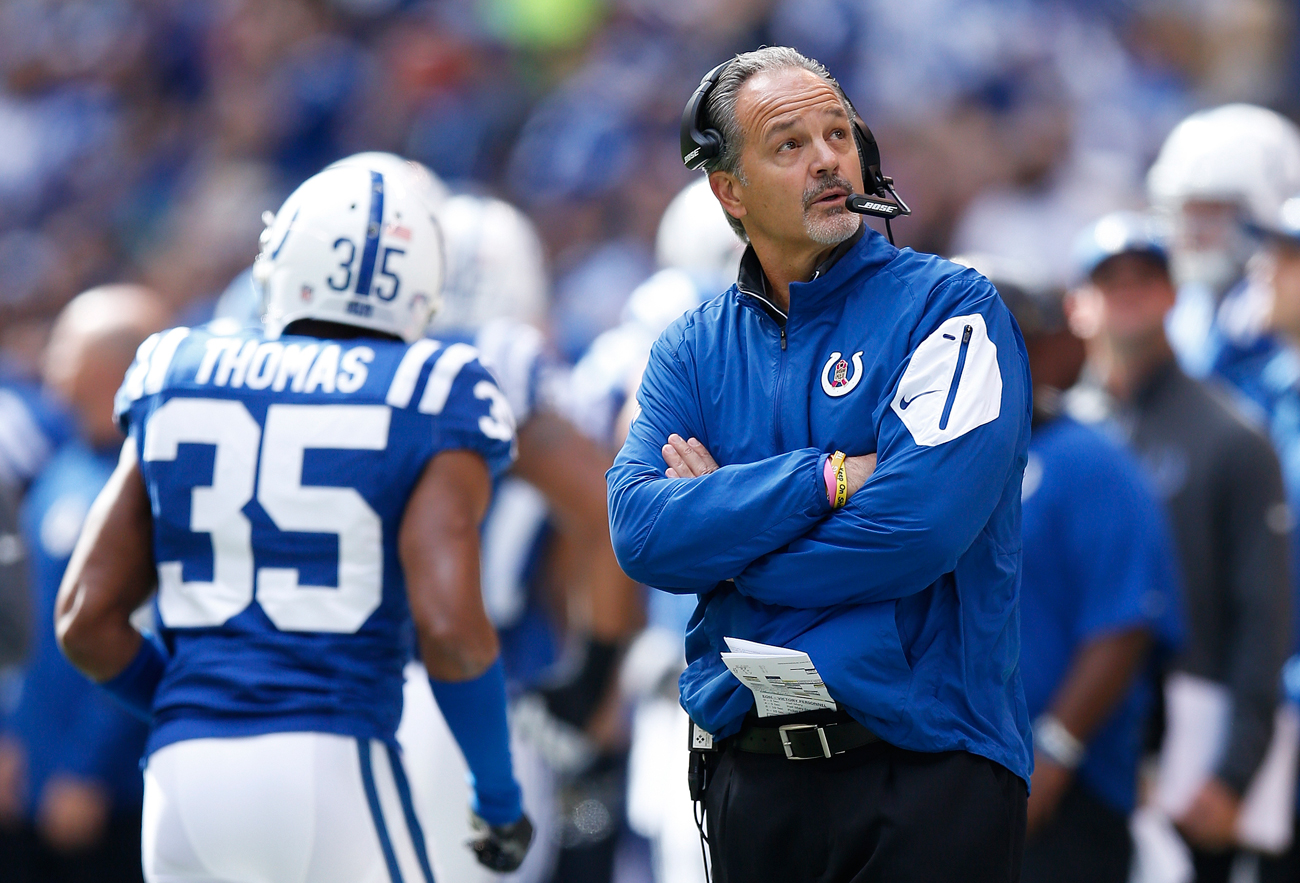 Colts coach Chuck Pagano on the sideline during a loss to the Saints in Week 7 of the 2015 NFL season.