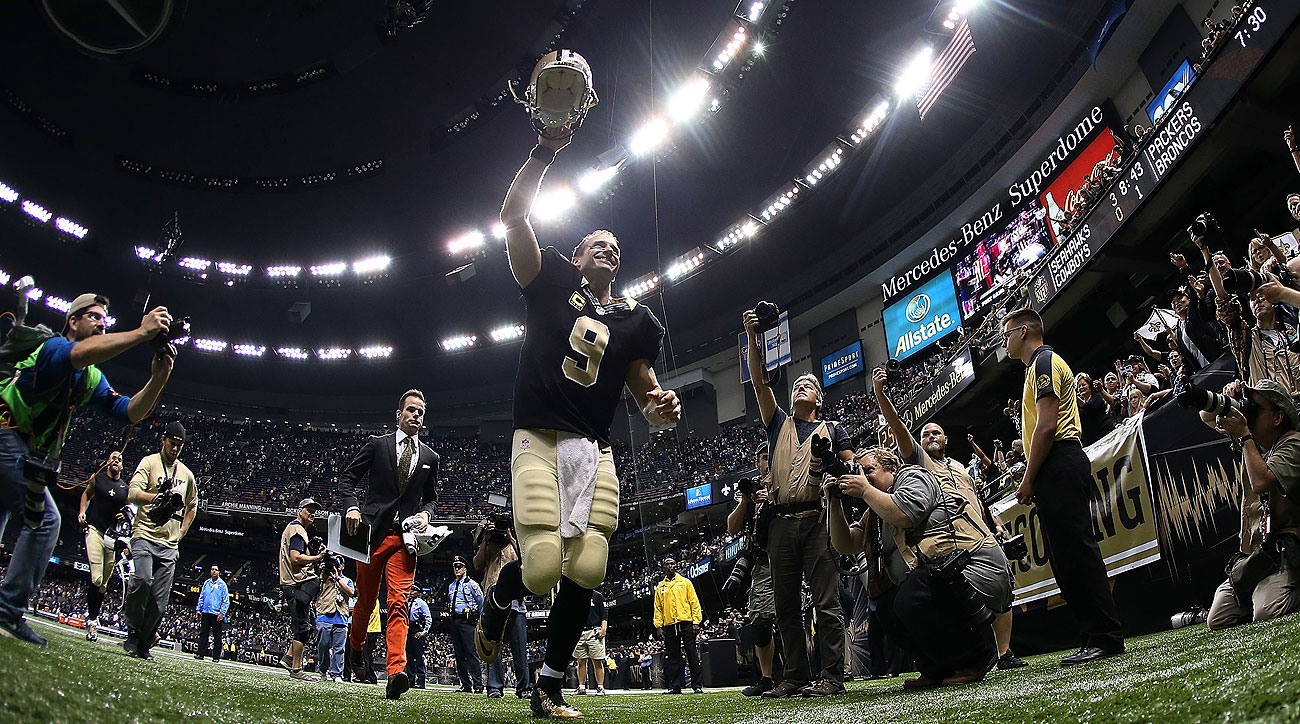 Drew Brees became the eighth QB in NFL history to throw for seven TDs in one game.