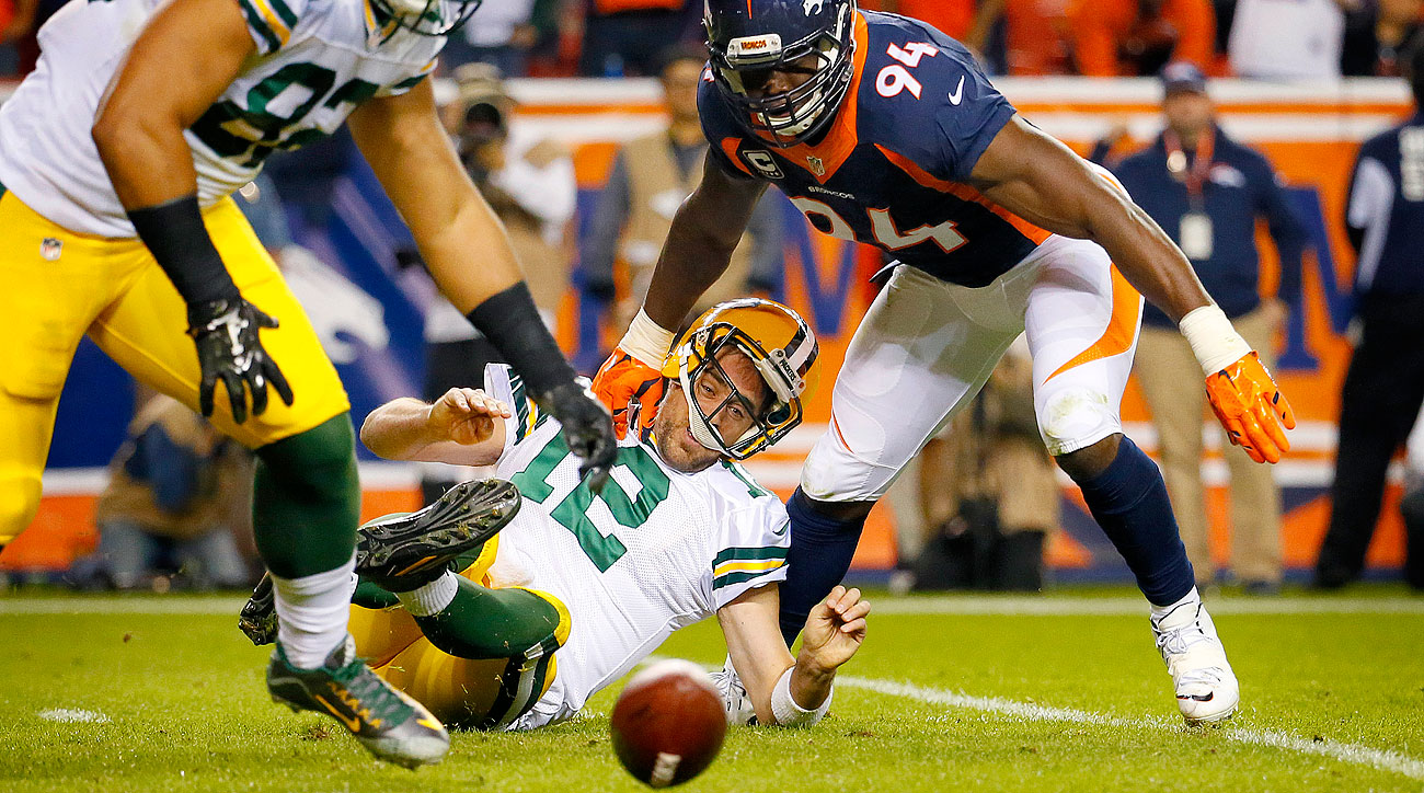 DeMarcus Ware's second-half strip sack of Aaron Rodgers led to a safety.