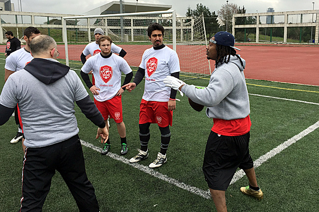 Marshawn Lynch, here teaching the finer points of quarterbacking (seriously) in Turkey, has been a supporter of Barnidge's AFWB group.