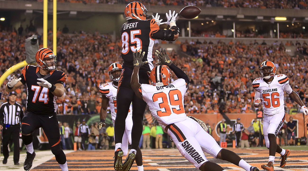 After his three-score performance Thursday night, Tyler Eifert now leads the NFL in receiving touchdowns with nine.