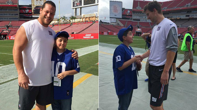 Dimitri got to meet Markus Kuhn and Eli Manning before the game.