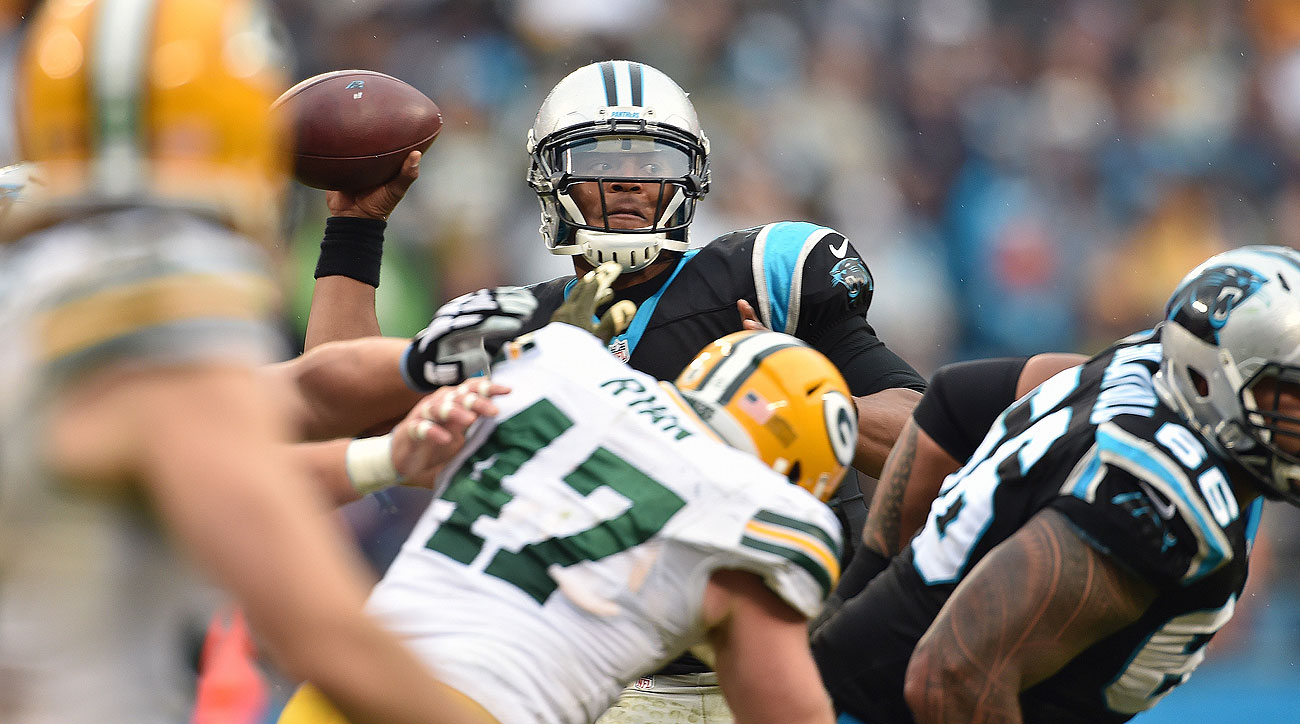 Cam Newton threw for three touchdowns and ran for another as the Panthers improved to 8-0.